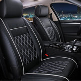 7PCS PU Leather Car Seat Cushion Cover Protector Set for 5 Seat Cars Black White Universal