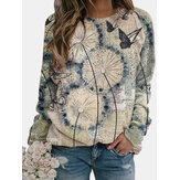 Flower Butterfly Printed Long Sleeve O-neck Blouse For Women