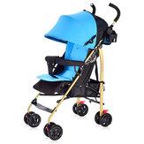 Cochecito de bebé plegable 100-175 ° Canopy de panel anti-UV ajustable 4 ruedas Silla de niños para 0-3 años
