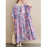 Casual Floral Printed Loose Fit O-Neck Maxi Dress For Women