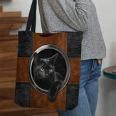 Women Canvas Cute Cartoon Black Cat Print Handbag Tote Shoulder Bag