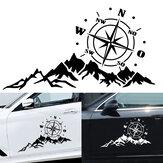 2 STUKS Carrosserie Kap Sticker Decal Kompas W / Bergen Voor Camper Camper Auto