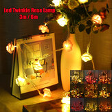 3M 6M LED Artificia Rose Flower Fairy String Licht Home Party Hochzeit Urlaub Weihnachtsdekor Lampe AC110V / 220V