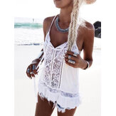 Holiday Beach Lace Patchwork Hollow Out Women Casual Sling Tank Top