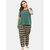 Plus Size Women Solid Color Short Sleeve Top Plaid Print Two Piece Home Pajama Set