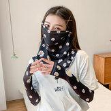 Women Sunscreen Summer Outdoor Ice Silk Sleeve Arm Guard Sleeve Breathable Cover Face Veil Mask