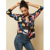 Camisas de botón de manga larga de gasa con estampado floral de solapa de manga larga para Mujer