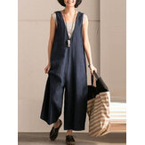 L-5XL Vintage Women Sleeveless Cotton Jumpsuit