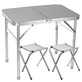 Mesa dobrável com 2 cadeiras Mesa dobrável de piquenique com 2 banquinhos de alumínio para laptop Conjunto de cadeiras de mesa para acampamento ao ar livre ajustável em altura Mesa para churrasco