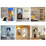 2Pcs 38.5x200cm 3D Door Wallpaper Sticker Mural Scene Self Adhesive Decor Decal