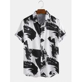 Oil Painting Pattern Printing Breathable Short Sleeve Casual Shirts