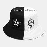 Unisex Verano UV Protección Costura Patchwork Graffiti Street Trend Elegante Sol Sombrero Cubo Sombrero