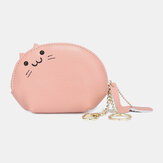 Donne Vera Pelle Casual Cute Animal Cat Modello Mini moneta appesa Borsa Conservazione Borsa