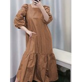 Women Puff Sleeve Square Neck Pleated Solid Color Casual Maxi Dresses