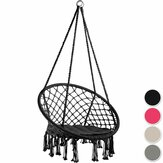 Cotton Hammock Seat Hanging Chair Tassel Deluxe Swing Chair Max Load 120kg Outdoor Indoor Patio Garden
