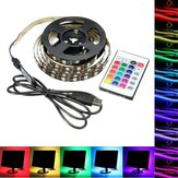 1M 2M 3M 4M USB 5V 5050 60SMD/M RGB LED Strip Light TV Backlilghting Kit +24Key Remote Control