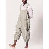 INCERUN Mens Striped Printing Multi Big Pocket Kordelzug Lose Overalls Baggy Pants Strampler