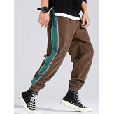 Corduroy Mens Side Stripe Pocket Drawstring Beam Feet Casual Pants
