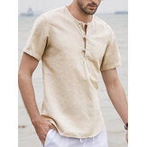 Men Solid Color Chinese Buckle Casual Henley Shirts