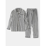 Cotton Mens Vertical Stripes Revere Collar Long Sleeve Home Pajama Set With Pocket