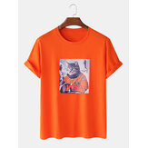 Hommes 100% coton Fun Pilot Cat Print Casual Home T-shirts à manches courtes