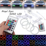 4PCS RGB 80MM Çok Renkli 5050 Flash LED SMD 12V Angel Eyes ve Uzakdan Kumanda