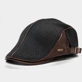 Banggood Tasarım Erkekler Örgü Deri Patchwork Renkli Gündelik Kişilik İleri Şapka Beret Şapka
