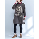 Plus Size Casual Women High Collar Printed Long Thick Sweatshirts