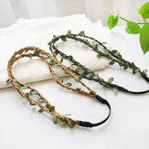 Fascia per capelli elastica con nappe a foglia di temperamento bohemien Fascia per capelli a doppia fila con foglia di rattan