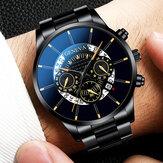 ساعة جينيفا بيزنس مع التقويم يتصل غير القابل للصدأ فولاذ حزام ضد للماء ساعة كوارتز رجالية