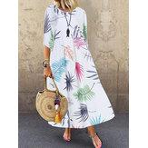 Vestido maxi casual boêmio manga 3/4 decote O com estampa floral casual
