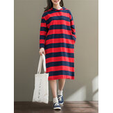 Casual Mulheres Long Sleeve Striped Loose Mid Long Hoodies Vestidos