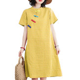 Short Sleeve Stand Collar Pleated Spliced Plaid Casual Dress For Women