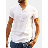 Men's Short Sleeve Collarless Neck Linen T Shirts Beach Casual Cool Tops Blouse