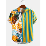 Hommes Tropical Leaf Colorful Stripe Mixed Print Manches Courtes Casual Chemises de Vacances