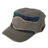 Mens сетка Patch Cotton Flat Top Шапка Лето Военный На открытом воздухе Зонтик для бритвы