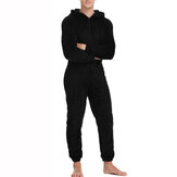 Comfortable Men Autumn Winter Hoodie Lounge Wear Warm Polyester Jumpsuits