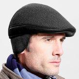Мужская шерсть, зима На открытом воздухе, сохраняет тепло, однотонный, повседневный, универсальный, вперед, Шапка, берет Шапка