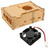 Прозрачный прозрачный Чехол Корпус Коробка + Вентилятор охлаждения для Raspberry Pi 2 Модель / B+