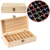 32 ثقوب الزيوت العطرية صندوق خشبي الحاويات الصلبة الصنوبر نقية الخشب الطبيعي حالة التخزين