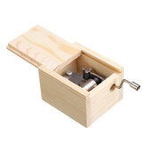 Wooden Mini Music Box DIY Mechanical Retro Vintage Hand Cranks Music Box Movement 18 Notes Melody Music Boxes Craft Party Gift