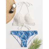 Women White Triangle Halter String Crochet Top Tropical Leaves Print Hawaii Casual Bikini