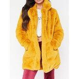 Plus Size Elegant Fluffy Solid Color Pockets Thick Coats
