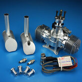 DLE60 60CC Twin Gas Engine Electronic Ignition and Mufflers Gasoline Twin-Cylinder Two-Stroke Side Exhaust Natural Air-cooled Hand Start Displacement for RC Aircraft