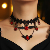 Gothic Red Bat Halloween Lace Choker Necklace