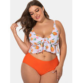 Printed Deep Necklines Adjustable Straps Plus Size Bikini