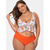 Impreso escotes profundos correas ajustables Plus tamaño bikini
