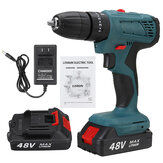 48V Cordless Electric Drill LED Impact Drill 25+3 Gears w/ 1pc or 2pcs Battery