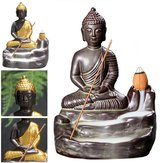 Ceramica Buddha Incenso Statua Buddista Fumo riflusso cono Censer Bruciatore Holder Home Decor