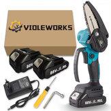 VIOLEWORKS 4 Inch 88VF Draadloze Elektrische Kettingzaag Een Handzaag Houtbewerking Tool W/Geen/1pc/2pcs Display Batterij Voor Makita